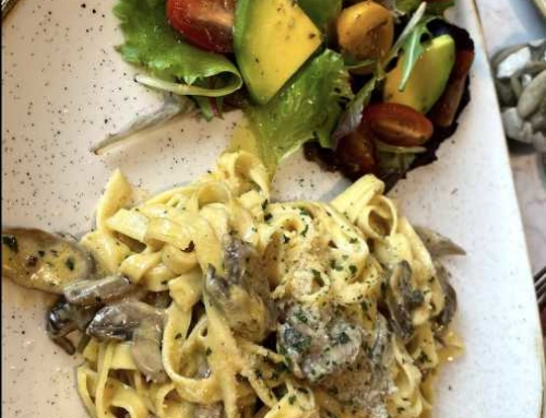 Egg Tagliatelle with Mushrooms and Gorgonzola